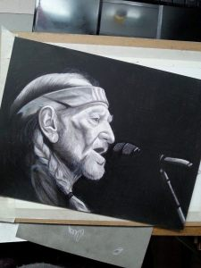 Willie Nelson. Charcoal and graphite on bristol.